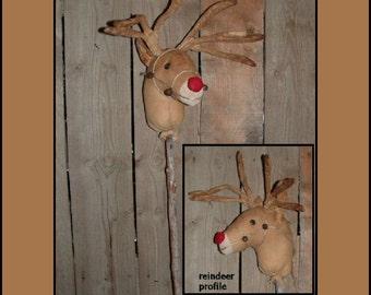 Primitive Folk Art Red nosed Reindeer instant dowload sewing pattern HAFAIR faap OFG 377