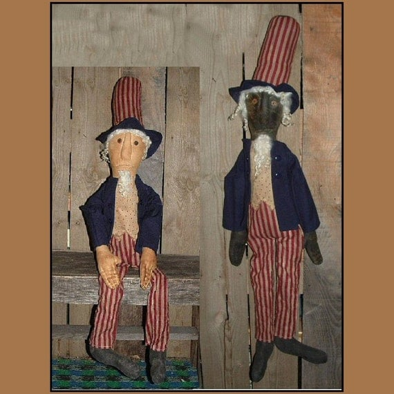 Primitive Folk Art Uncle Sam PDF instant download sewing pattern HAFAIR