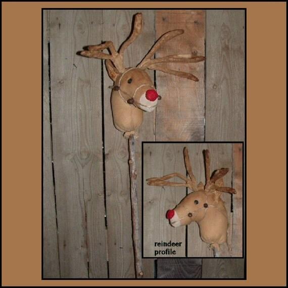 Primitive Folk Art Red nosed Reindeer instant dowload sewing pattern HAFAIR OFG 377