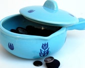 Small Blue Covered Casserole Dish