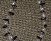 Mother of Pearl and Brown Shell Finger-like Beaded 16in Necklace