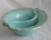 Vintage Aqua and Gold Divided Bowl, California Style American Pottery