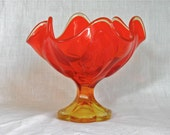Vintage Orange Ombre Art Glass Candy Dish Compote