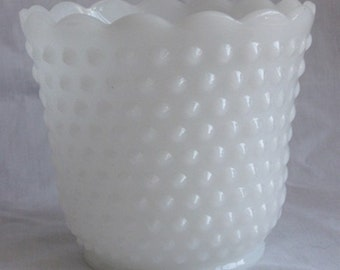 Fire King Milk Glass Hobnail Planter-Small