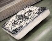 Fleur De Lis Blackened Grunge Design 2 inch Stone Tile Magnet