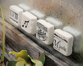 Musical Ensemble 1 inch Tumbled Stone Magnet Set of 4