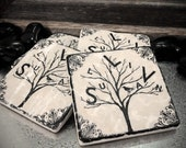 Person-al-i-Tree Personalized Family Tree Absorbent Stone Tile Drink Coasters- Set of 4