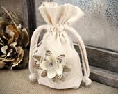 Muslin Cotton Drawstring PetalBag with Vintage Chinese Lace Gift Bag or Wedding Favor