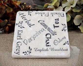 Tea Name Collage  Absorbent Stone Tile Coaster