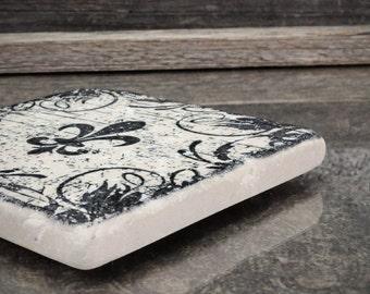 Fleur De Lis Grunge Absorbent Stone Tile Drink Coaster