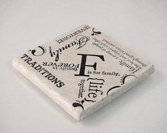 F is for Family Absorbent Stone Tile Coasters-SET OF FOUR
