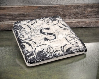 Monogram Grunge Swirls Absorbent Stone Tile Drink Coaster