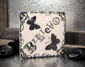 BELIEVE Absorbent Stone Tile Drink Coaster