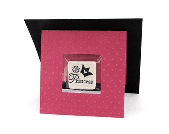 Pink Princess Party or Baby Shower Favor Gift Card with Suspended Stone Tile Magnet