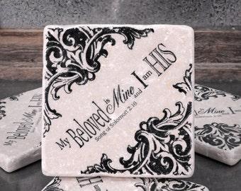 My Beloved Scripture Absorbent Stone Tile Drink Coasters Set of 4