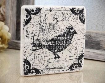 Forever Blessed Grunge Blackbird Absorbent Stone Tile Drink Coaster