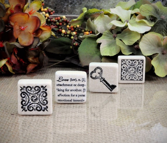 Love Defined Tumbled Stone Magnet Set of 4