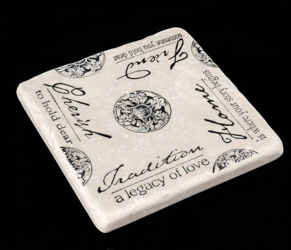 Hearth and Home Medallion Absorbent Stone Tile Drink  Coaster