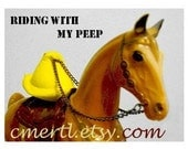 Riding With My Peep, horse, chick note card