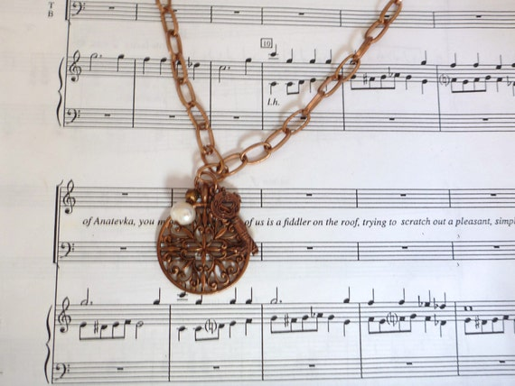 Lovely Copper Necklace with Pearl and Charms
