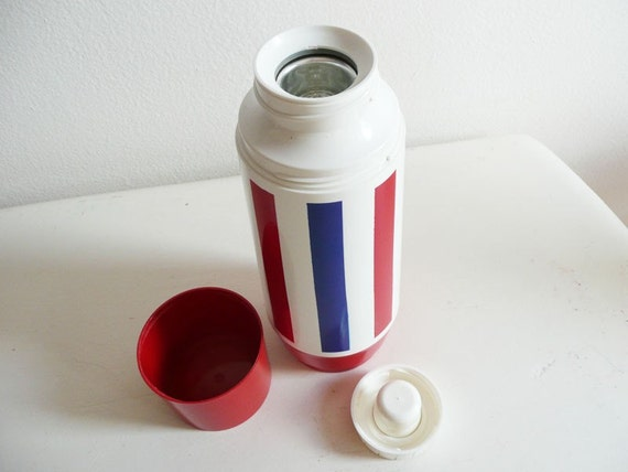 Thermos, Vintage, Thermo Serv, West Bend, Retro, Red White Blue, Striped, Patriotic Stripes, USA, Fourth of July, Picnic Gear