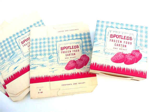 RESERVED Set of Six Spotless Brand Cardboard Frozen Food Cartons, Vintage Kitchen Decor, Red White Blue, Strawberries, Gingham