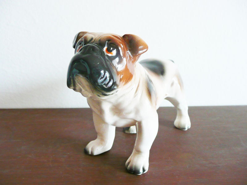 Vintage Porcelain Bulldog Figurine Dog Japan By