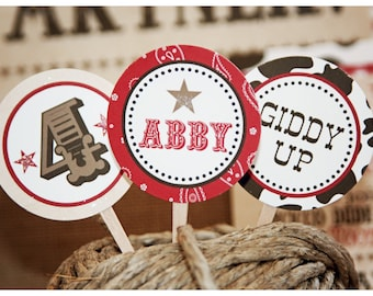 Printable Western Party Brown/White Cowhide Cupcake Toppers