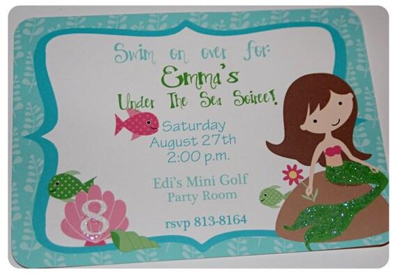 Roula Custom Listing For Mermaid Birthday Invitations With Envelopes