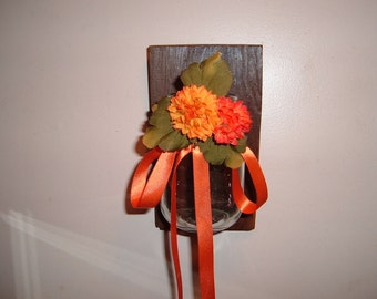 Mason Ball Jar Sconce with Flowers on Barn Wood