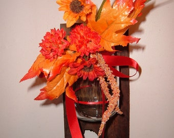 Ball Mason Jar Sconce with Flowers on Barn Wood