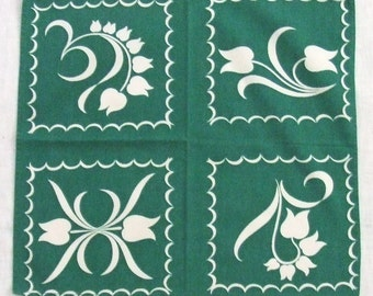 6 Wilendur Napkins Green Tulip Tile Print Cotton 1950s