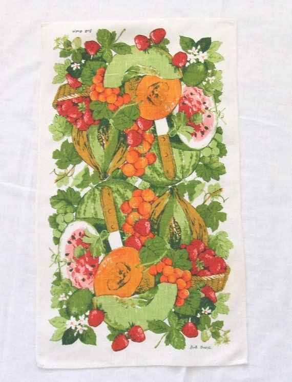 Vintage Linen Towel Fruit Harvest