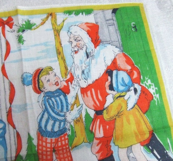 Vintage Christmas Handkerchief for Children 1940s