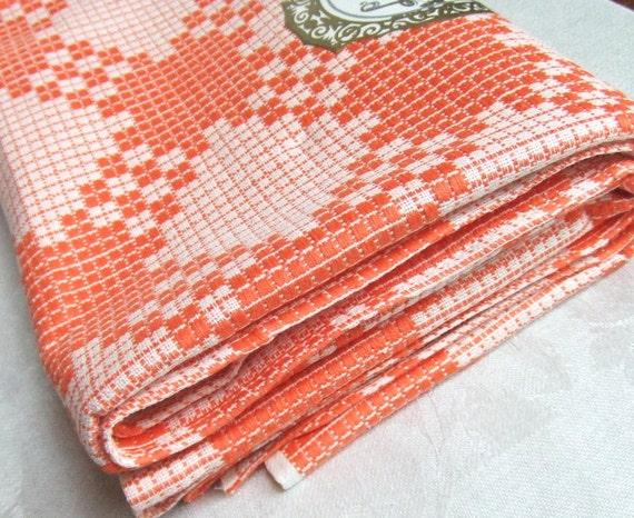 Orange Check Square Tablecloth Czechoslovakia