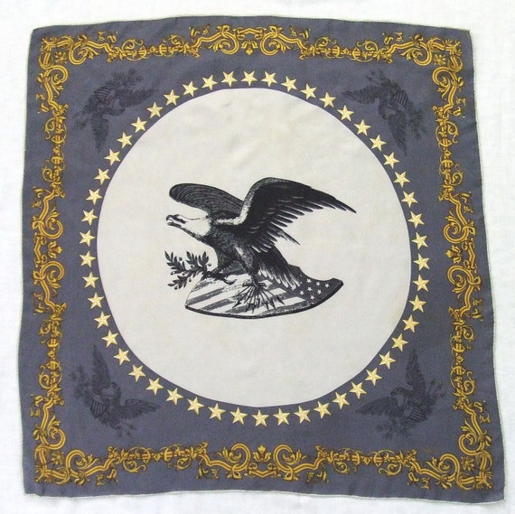 Eagle Vintage Silk Scarf by Echo Gray and Gold