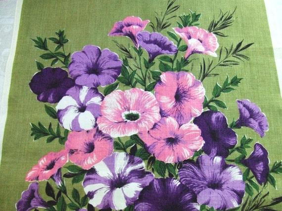 Vintage Irish Linen Towel Petunias