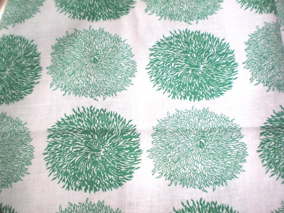 Vintage Feedsack Green and White Flowers