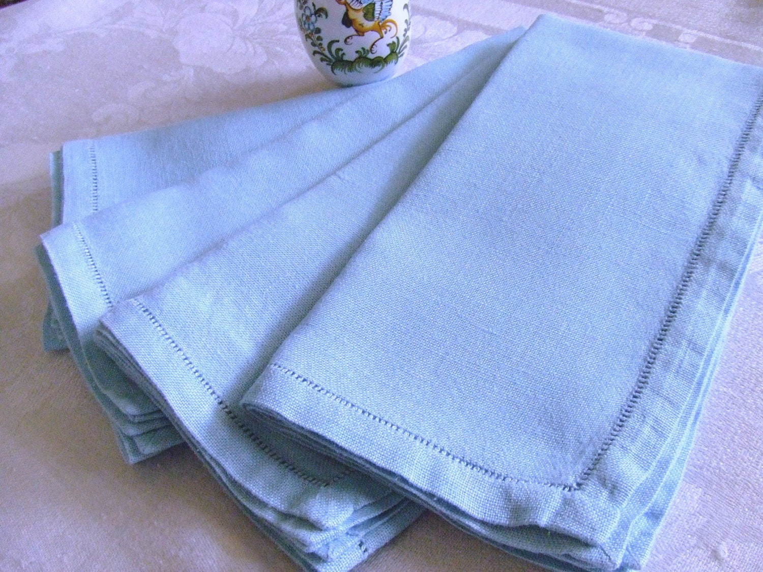Set Of 4 Blue Vintage Linen Napkins