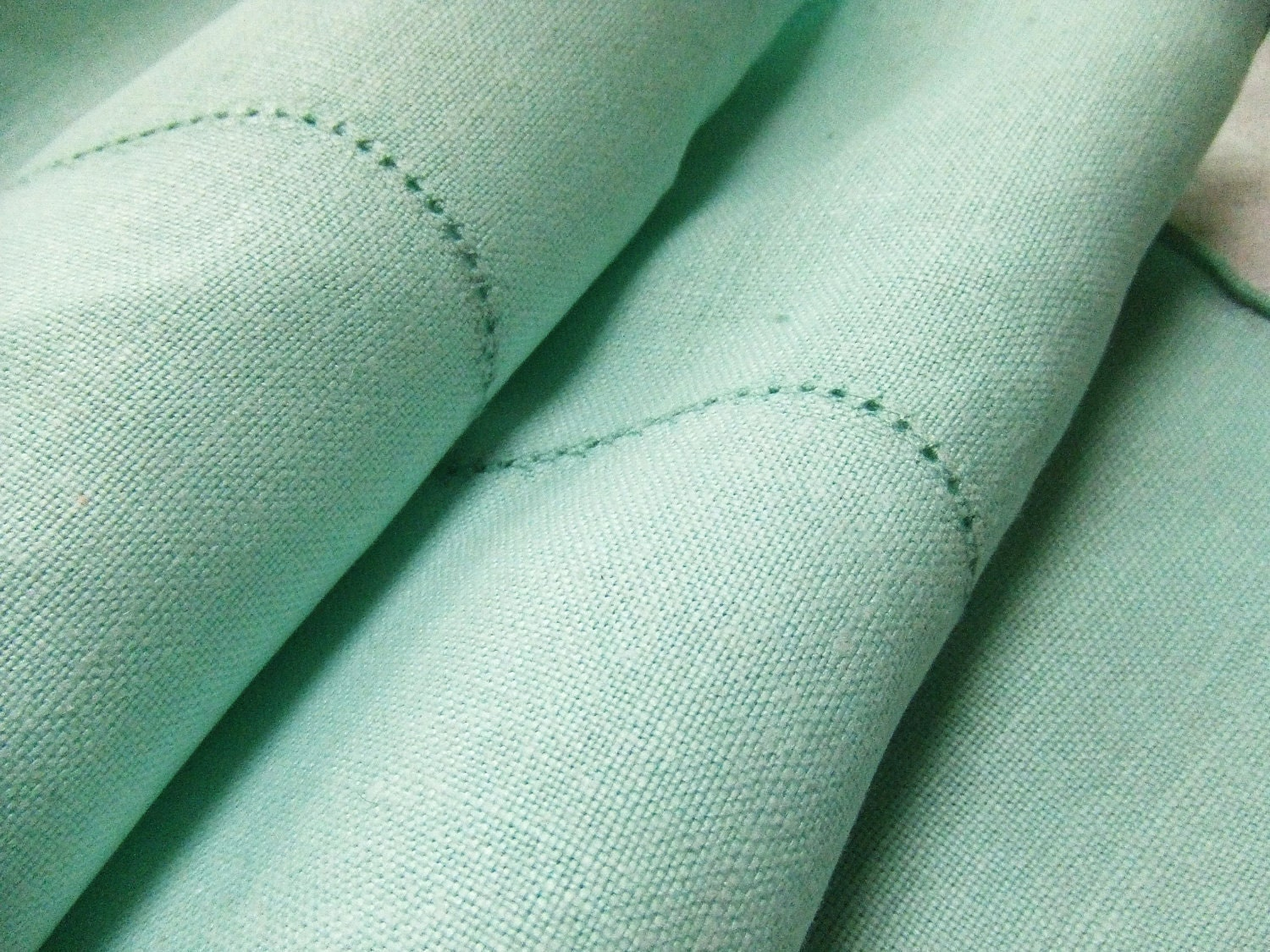 Vintage Mint Green Linen Tablecloth