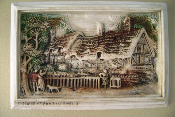 Charming Cottage Of Ann Hathaway vintage ivoryware plaque