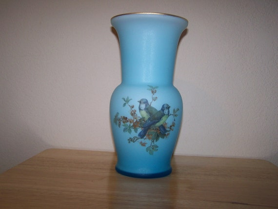 Norleans Vase Made In Italy Frosted Blue Amp White