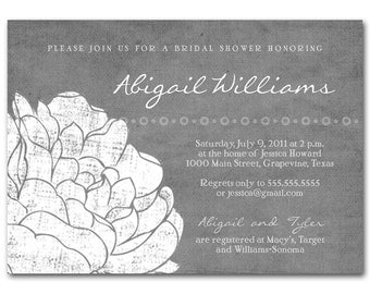 Bridal shower invitation, baby shower invitation, vintage gray and yellow, printable digital diy