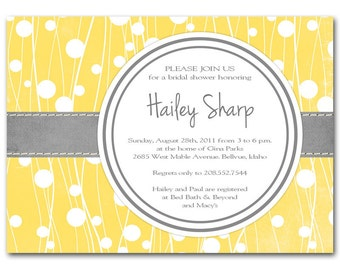 Yellow and gray bridal shower invitation,baby shower, modern, printable digital DIY