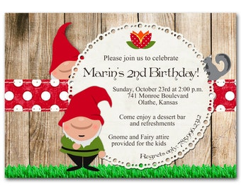 Gnome birthday party invitation, baby shower, rustic and whimsical, printable digital DIY, red, green, polka dots