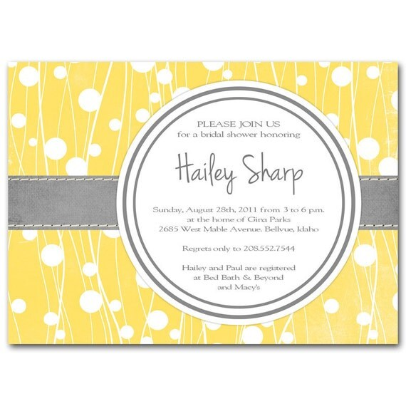 Items similar to bridal shower invitation baby shower for Yellow bridal shower invitations