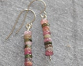Watermelon Tourmaline Earrings - ships FREE with another item