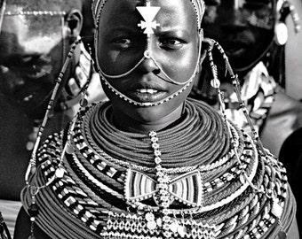 Samburu Girl in Full Traditional Dress Black and White Limited Edition Print 4/400