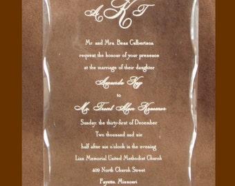 Engraved Acrylic Wedding Invitation Keepsake