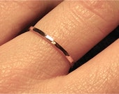 Thin Rose Gold Wedding Band/ 14k PINK Gold/ Hammered textured/ Handmade Ring/ Dainty wedding band/ 1.3 mm/ plain & simple/ stacking ring